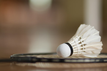badminton ball, shuttlecock with racket on court floor, vintage