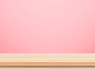 Empty light wood table top isolate on pink background, Template mock up for display of product.