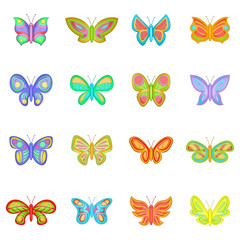 Butterfly fairy icons set. Cartoon illustration of 16 butterfly vector icons for web