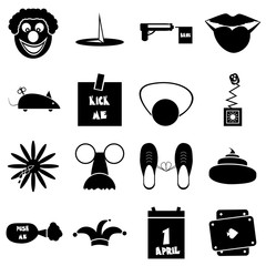 April fools day icons set. Simple illustration of 16 April fools day vector icons for web