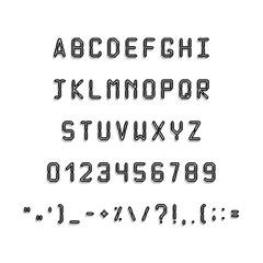 Pixel black font. Simple Letters and symbols