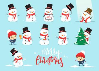 Snowman Christmas, character cartoon cute white snowman attributes of Christmas. Set Christmas characters snowman with a little boy