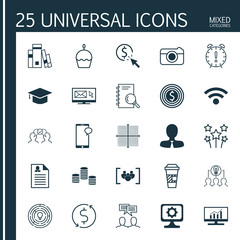 Set Of 25 Universal Editable Icons. Can Be Used For Web, Mobile And App Design. Includes Icons Such As Birthday Cake, Business Goal, Collaborative Solution And More.