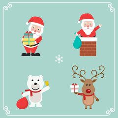 Set of cute Christmas character. santa claus, polar bear and reindeer Vector illustration