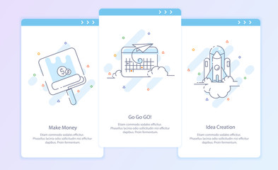 Premium Quality Line Icon And Concept Set: Process. Start up. Travel, Rocket, Make Money