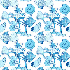 Abstract colorful background with sea motifs