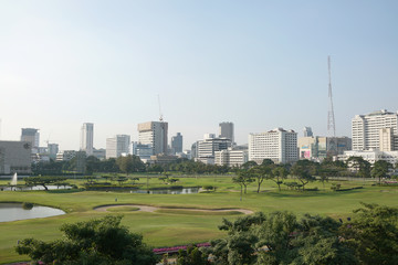 Golf cpurse in city