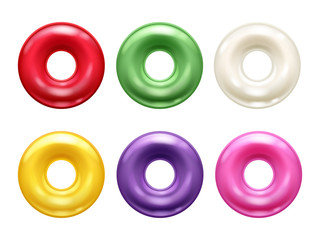 Round colorful hard candies set.