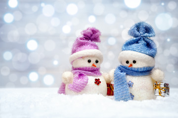 Christmas snowmen couple with gifts