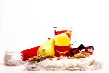 Glass of delicious glintwein or mulled hot wine