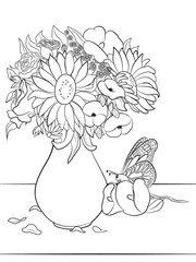 Flovers in vase cologing page