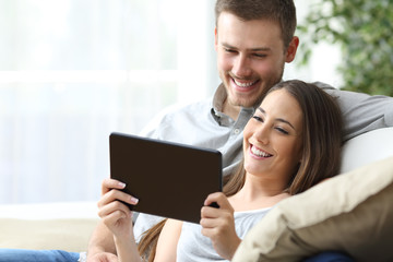 Couple watching media in a tablet
