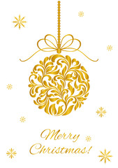 Elegant Greeting card. Merry Christmas! Christmas ball from abstract floral ornament with golden glitter isolated on a white background
