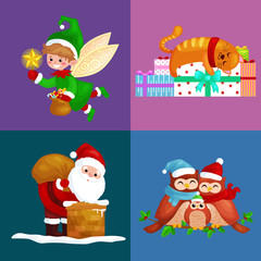 illustrations set Merry Christmas Happy new year, girl sing holiday songs with pets, snowman gifts, cat and dog enjoy presents, owls family and bird,Christmas elf Santa Claus climbing chimney with bag