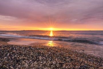 Rays of light at sunset