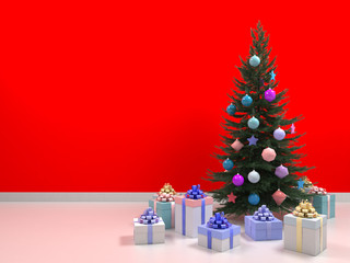 Christmas tree with colored balls toys, gifts boxes. Holiday, new year celebration theme with free copy space. Interior with clean red wall blank for design, text or image. 3d illustration