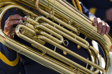 Tuba close up shot.