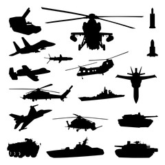 Tank Helicopter Fighter Plane - Navy Army Air Force Silhouette