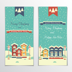 Banners with houses and snow. Flat style. Greeting inscription Merry Christmas and Happy New Year. Winter town. Vector