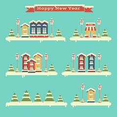 Winter set of houses. Town. Flat. Happy New Year and Merry Christmas