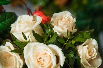 Beautiful wedding bouquet of white roses