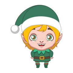Cute blonde elf helper with Santa hat