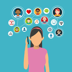 Avatar woman with icon set. Social network media and communication theme. Colorful design. Vector illustration