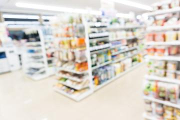 Modern supermarket blurred on background