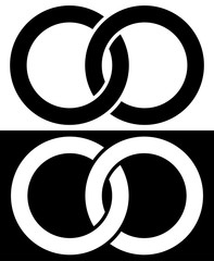Interlocking circles, rings abstract icon. Connection concept ic