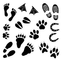 Footprints vector icon set.