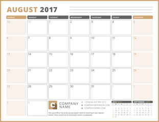 Calendar Template for 2017 Year. August. Business Planner 2017 Template. Stationery Design. Week starts Sunday. 3 Months on the Page. Vector Illustration