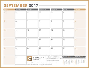 Calendar Template for 2017 Year. September. Business Planner 2017 Template. Stationery Design. Week starts Sunday. 3 Months on the Page. Vector Illustration