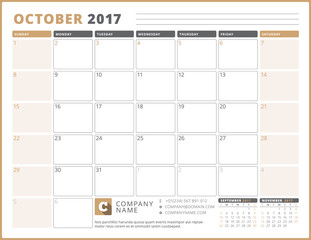 Calendar Template for 2017 Year. October. Business Planner 2017 Template. Stationery Design. Week starts Sunday. 3 Months on the Page. Vector Illustration