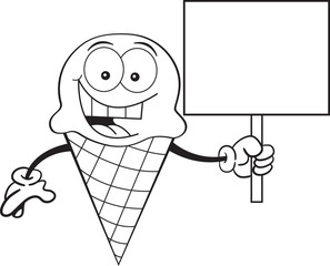 Black and white illustration of a ice cream cone holding a sign.