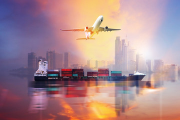 Container Cargo ship and Cargo plane with big city  in seaport , logistic import export background and transport industry.