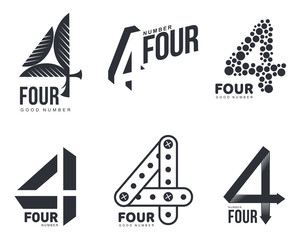 Fototapeta Set of black and white number four logo templates, vector illustrations isolated on white background. Black and white graphic number four logo templates - technical, organic, abstract obraz