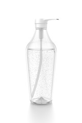 White cosmetic bottle dispenser pump with tube transparent bubble liquid filled container from side angle.