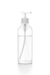 White cosmetic bottle dispenser pump with tube transparent liquid filled container from side angle.