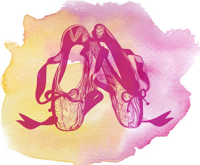 Illustration of a pair of ballet pointes shoes. pink watercolor background