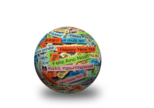 Happy New Year on  different languages 3d ball