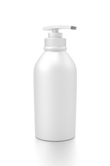 White cosmetic bottle dispenser pump with tube container from side angle.