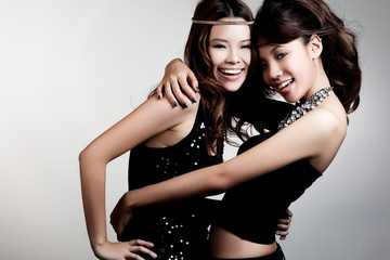 Young beautiful Asian women in little black dress for new year party event