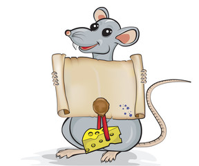 Cartoon rat holding scroll with a wax seal and piece of cheese.