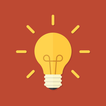 Vector illustration. Flat design light bulb whit shine. Design element for your stickers, card, posters, emblems, web design, icons