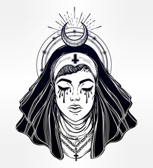 Illustration of a nun with tears in her eyes.