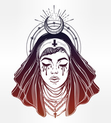 Illustration of a nun with eyes filled with tears.
