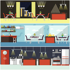 Vector set of banners with restaurant interiors. People having lunch in cafe. Kitchen, dining room