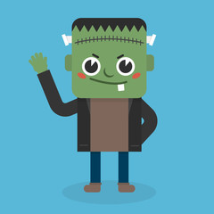 Cute Zombie icon flat design