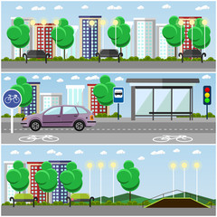 City landscape with road and park concept vector banners. Bus stop, car on a street.