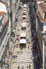 View on central street of Lisbon from above